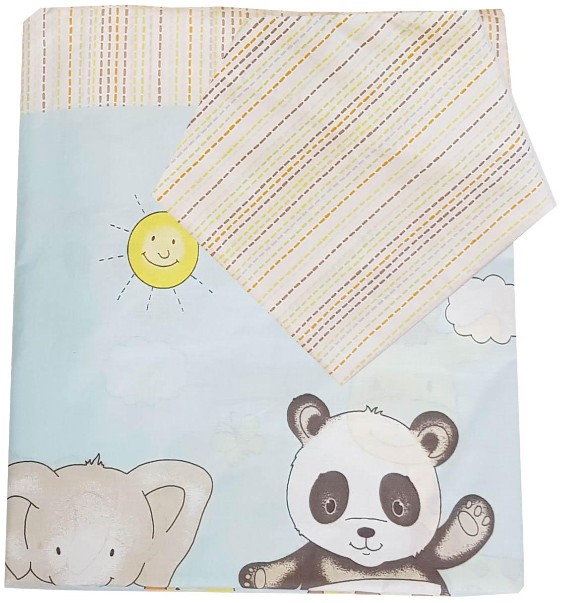 Комплект постельного  белья детский Папитто Зоопарк голубой 147x112 см простыня на резинке