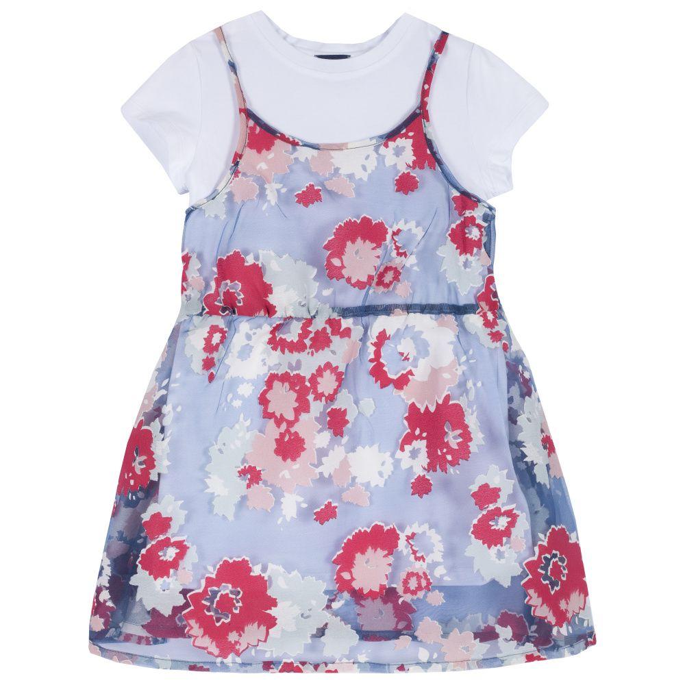 Купить 09003479, Платье Chicco р.128, Цветы, цвет сине-красный, Платья для девочек