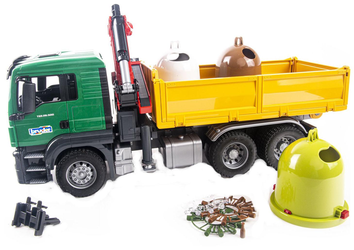 Купить Самосвал MAN, c 3-мя мусорными контейнерами, Bruder,