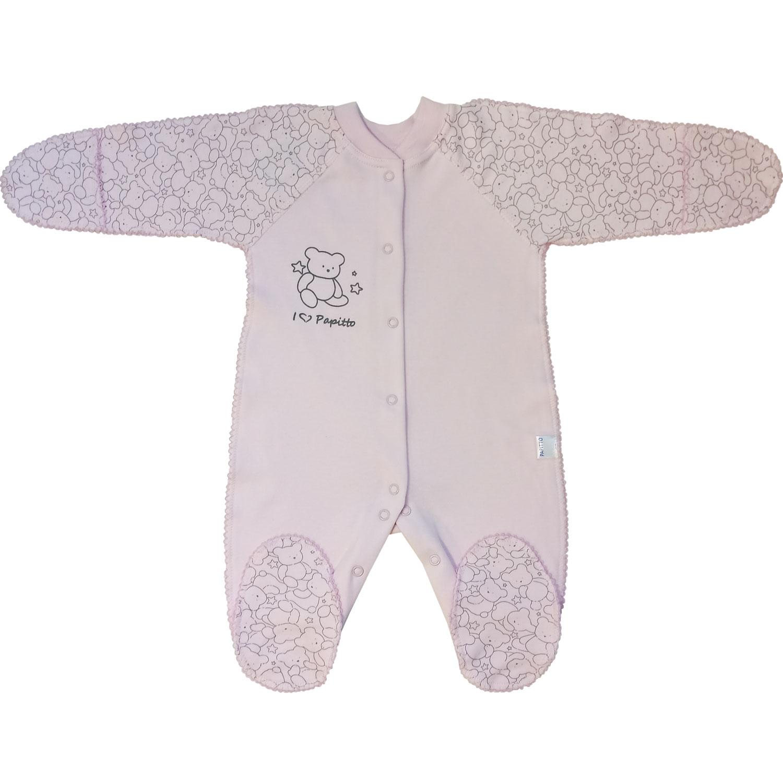 Купить 725-02, Комбинезон детский Верные друзья Медвежонок розовый р.46, Папитто, Трикотажные комбинезоны для новорожденных