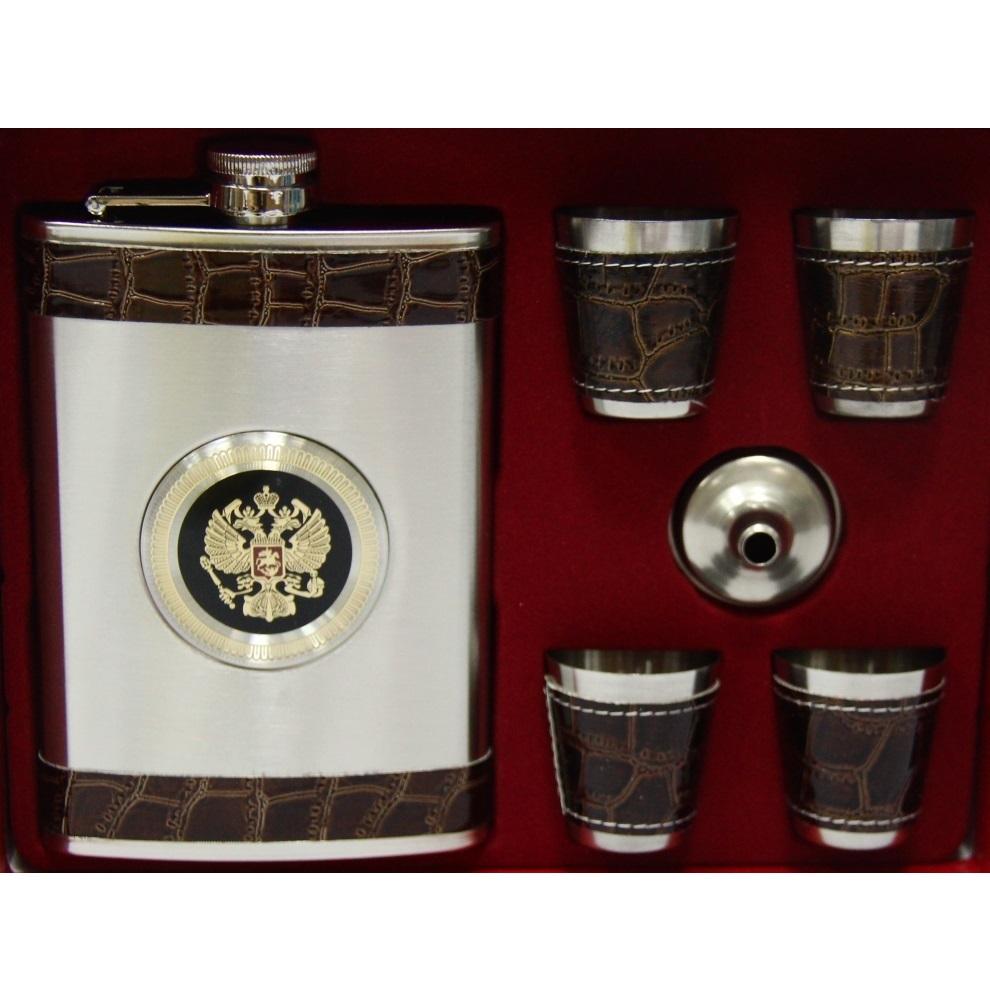 Подарочный набор 10-7 фляга 400мл + 4 рюмки от Mega