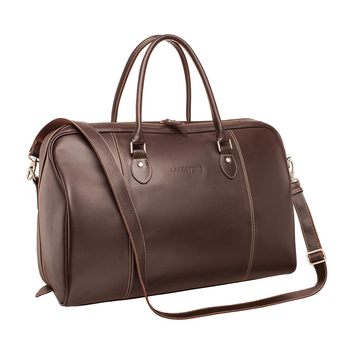 Дорожная сумка кожаная Lakestone 974081BU коричневая 50 x 21 x 37 фото