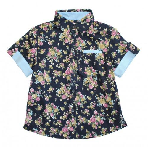 Рубашка Bon&Bon синяя с цветами р.116 фото