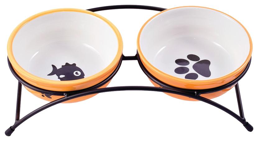 Двойная миска для кошек и собак КерамикАрт,