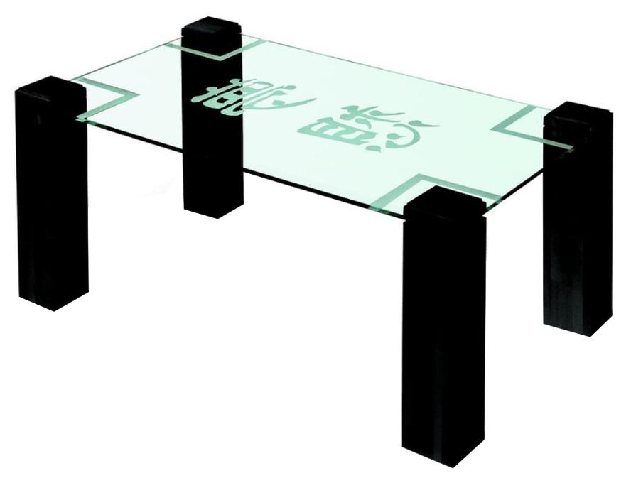 Стол журнальный Мебелик Приз 2Н Венге прозрачный с иероглифом
