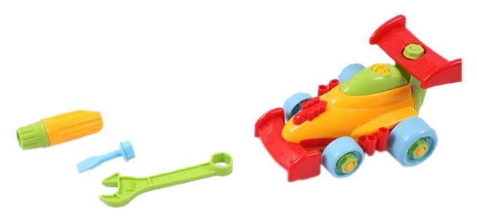 Купить Конструктор пластиковый PlaySmart машина с инструментами желто-красный Г34254, Конструкторы пластмассовые