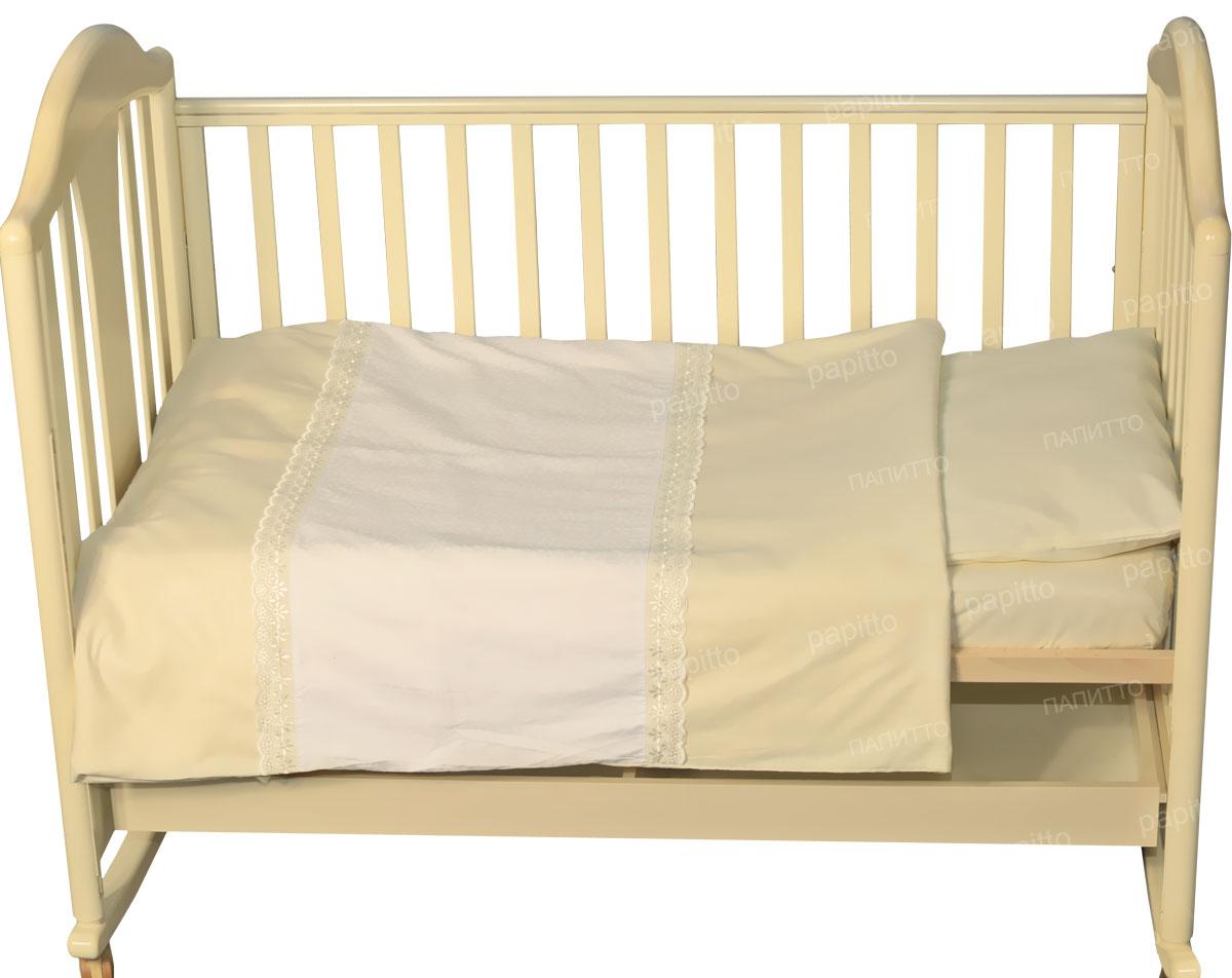 Детское постельное белье Папитто 147х112 сатин простыня на резинке Бежевый 6035