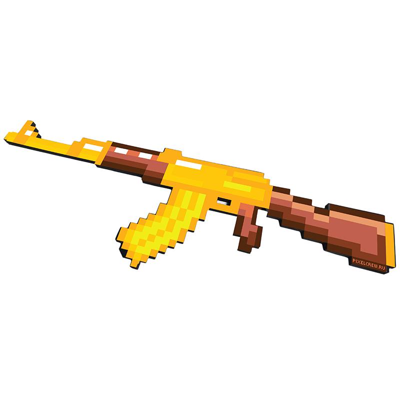 Купить Автомат АК-47 золотой 8Бит Pixel Crew пиксельный 68см, Мечи, кинжалы и копья