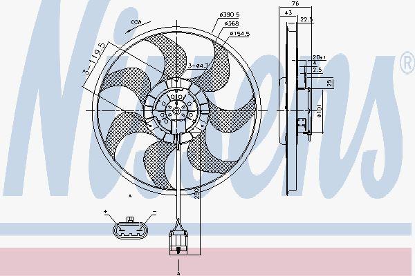 Вентилятор охлаждения двигателя NISSENS 85784