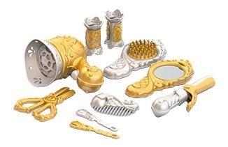 Купить Парикмахерский набор с феном (золото), Парикмахерский набор с феном (золото) (10 пред в блистере), НОРДПЛАСТ, Детские наборы парикмахера