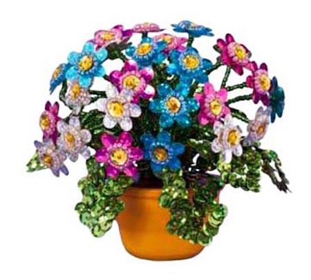 Цветы из пайеток, разноцветные герберы Lori