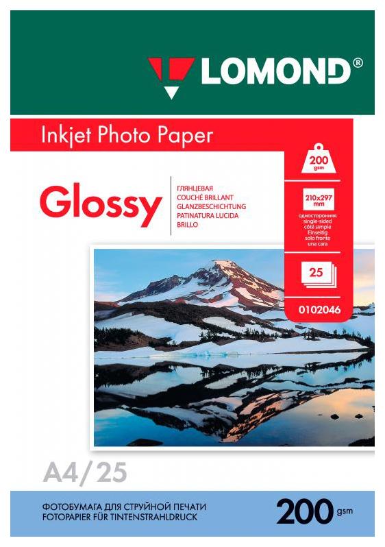 Фотобумага для принтера A4 LOMOND 200 г/кв.м односторонняя глянцевая 25 л