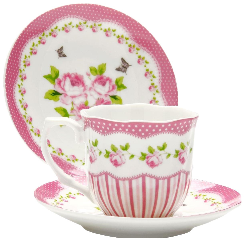 Кофейный набор Lorane 25959 Белый, розовый