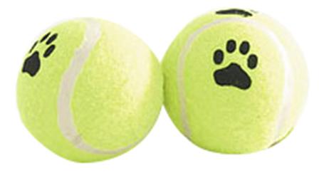 Апорт для собак Beeztees Мяч теннисный с лапкой желтый черный белый 6.5 см.