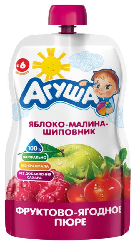 Купить Яблоко, малина, шиповник 90 г, Пюре фруктовое Агуша Яблоко, шиповник с 6 мес 90 г, Детское пюре