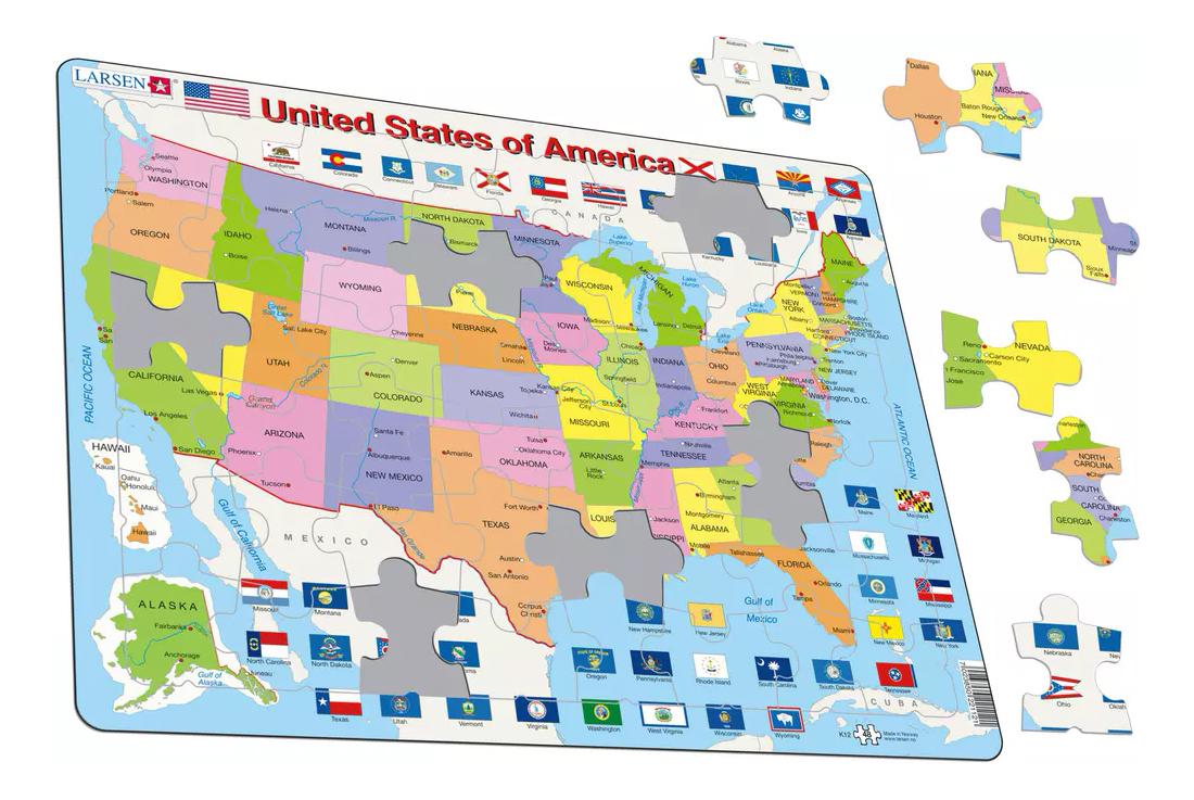 Пазл Larsen Карта штатов США, Пазлы  - купить со скидкой