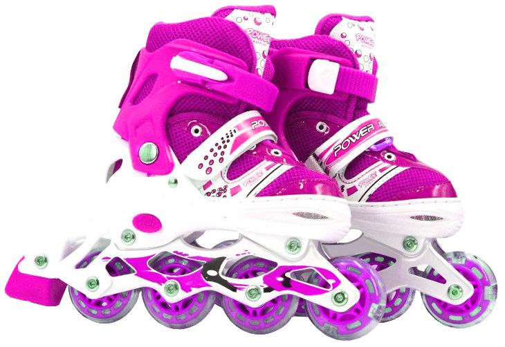 Роликовые коньки (светятся колеса), розовые, 39