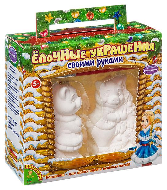 Купить Набор для творчества Bondibon Елочные украшения Свиньи с елочкой 2 шт, Рукоделие