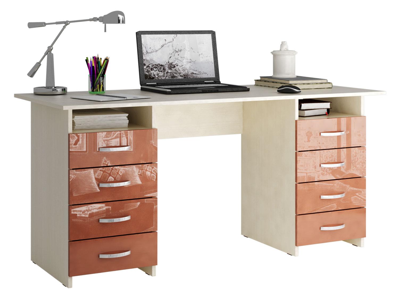 Письменный стол МФ Мастер МСТ-СДМ-10-ГЛ Милан-10 глянец терракотовый глянец, дуб молочный