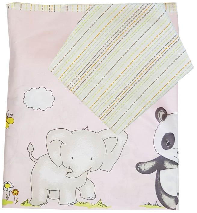 Комплект постельного белья детский Папитто  Зоопарк розовый 147x112 см простыня на резинке