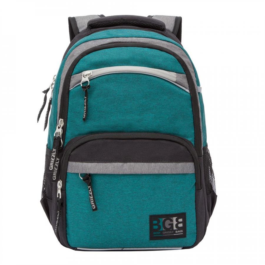 Купить Школьный рюкзак для мальчика Grizzly RB-054-7 бирюзовый, Школьные рюкзаки и ранцы