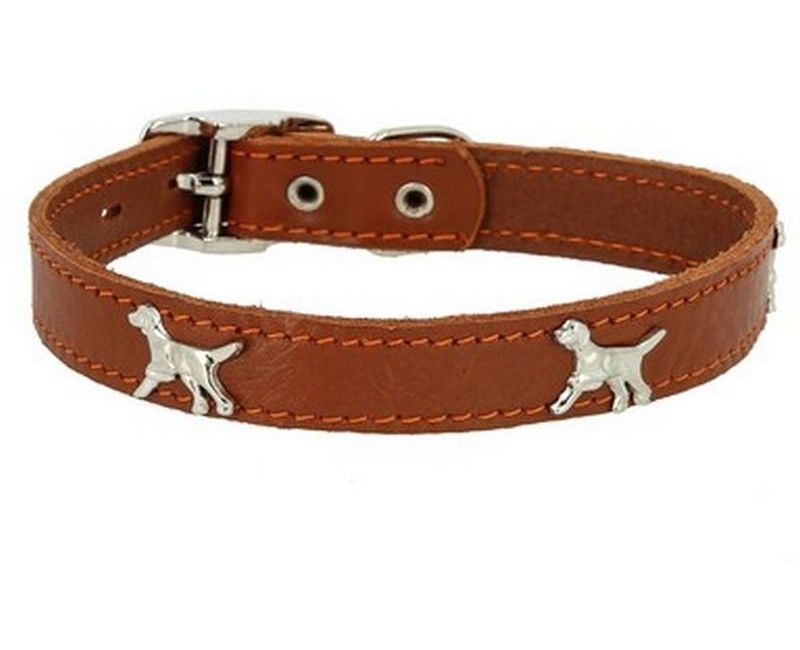 Ошейник Каскад Флер кожаный с украшением Собака светло-коричневый для собак 20ммх30-38см