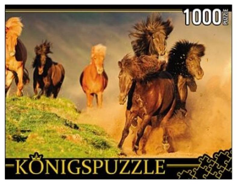 Купить Пазл Konigspuzzle Табун лошадей КБК1000-6456 1000 элементов, Пазлы