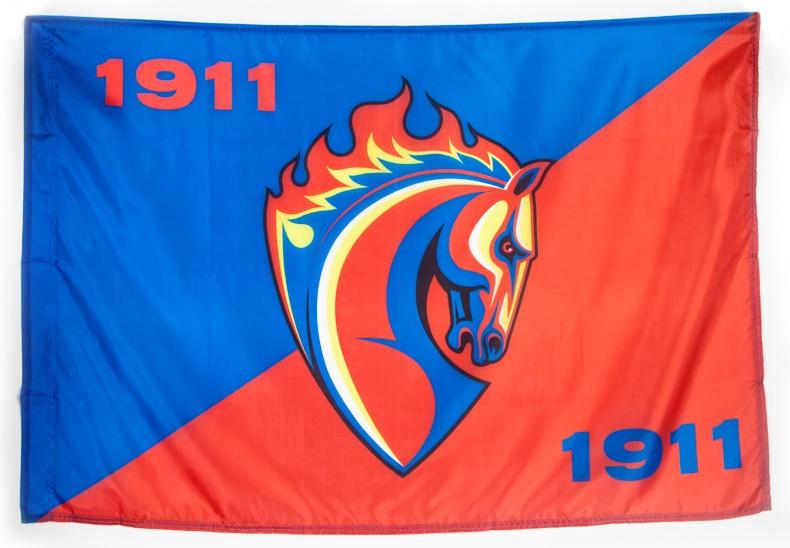 Флаг ПФК ЦСКА Талисман 90 х 135 красный/синий фото