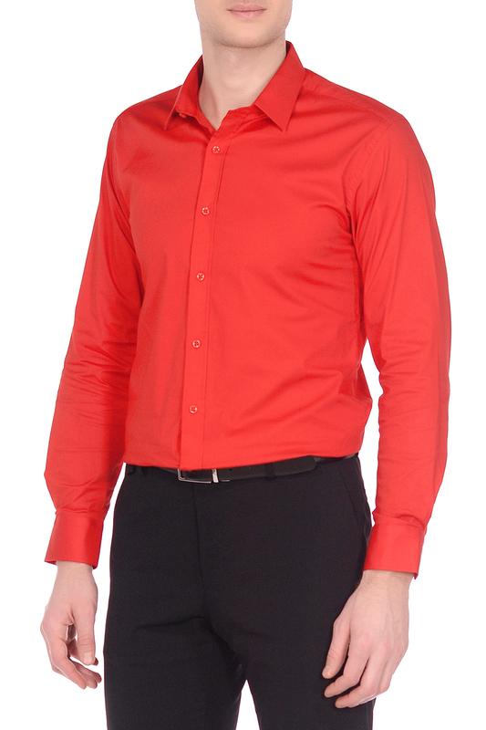 Рубашка мужская KarFlorens POPL-08 красная L