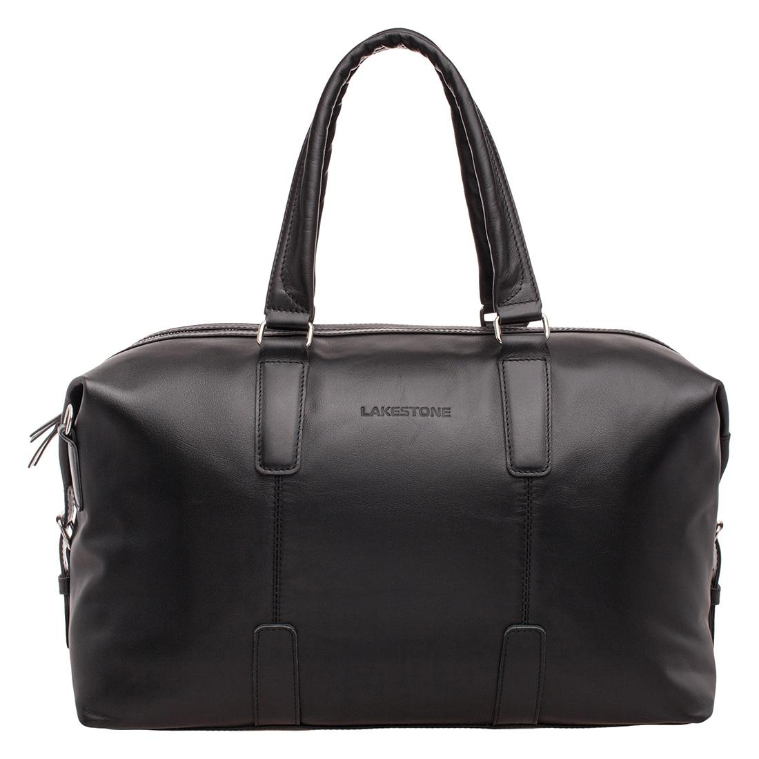 Дорожная сумка кожаная Lakestone 974320 черная 48 x 23 x 28 фото