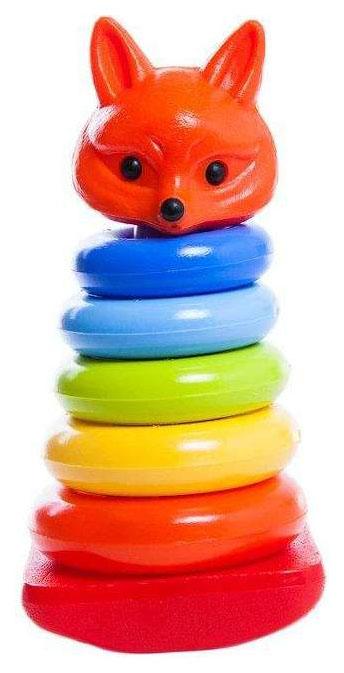 картинка Развивающая игрушка Росигрушка Пирамида-неваляшка Лисичка 26 см от магазина Bebikam.ru