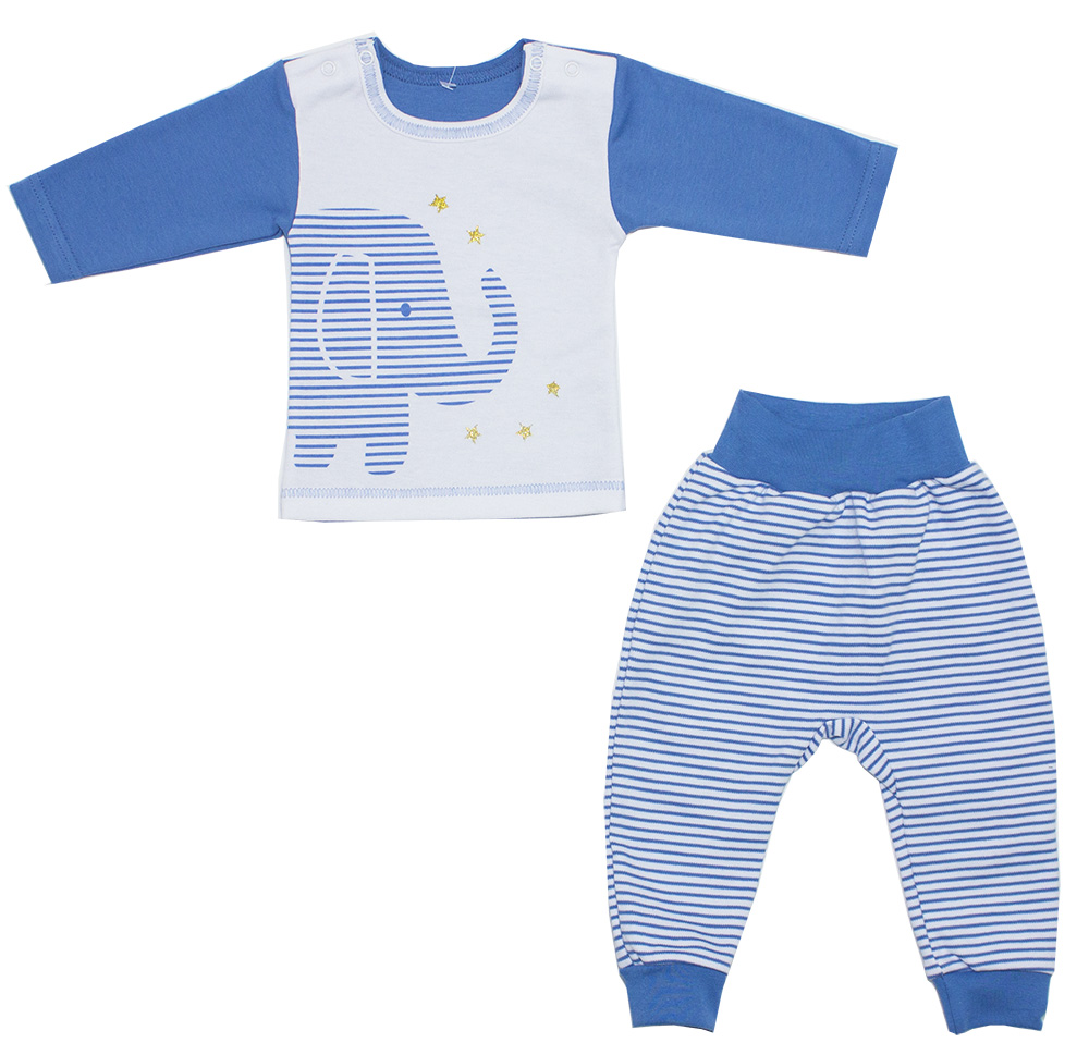 Комплект одежды для мальчика Осьминожка кофта и брюки Слоник в звездах р.62