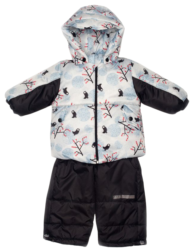 Комплект верхней одежды детский MalekBaby Птицы на ветке черный р.104
