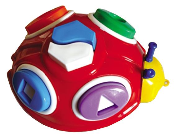 Логическая игрушка-каталка Рыжий кот Божья коровка на шнурке И-0197