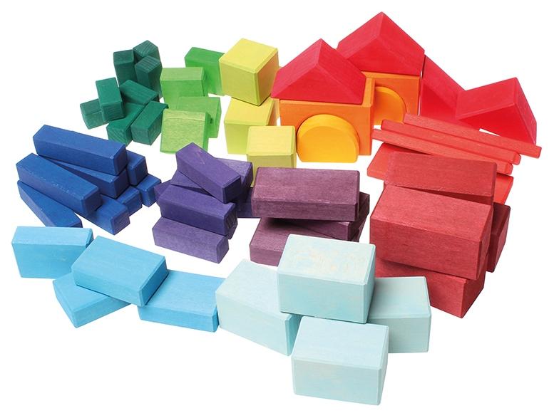 Купить Строительные кубики Grimms Геометрические блоки цвета радуги, Развивающие кубики