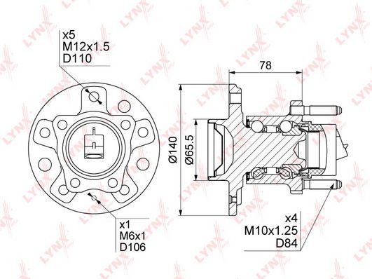 Комплект подшипника ступицы колеса LYNXauto WH-1110 фото