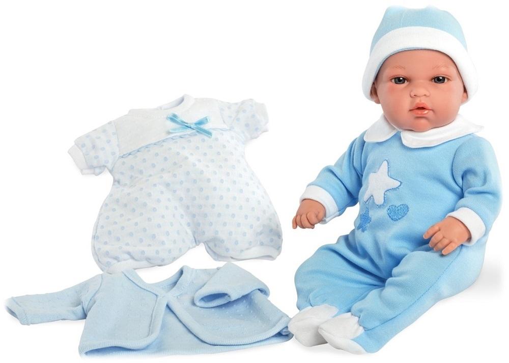 Купить Кукла Arias ELEGANCE мягконабивная с комплектом голубой одежды функцией плача 33 см,