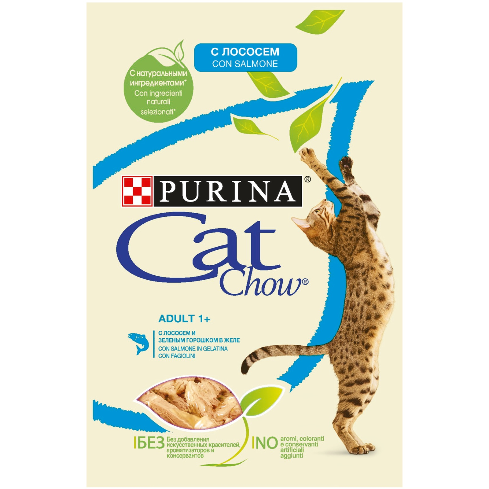 Влажный кормдля кошекCat Chow Adult, слососем изеленым горошком в желе, 24шт по 85г фото