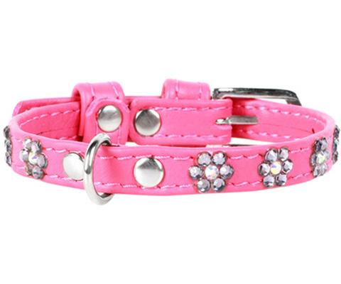 Ошейник для собак COLLAR Glamour кожаный, с клеевыми стразами, розовый, 15 мм 27-36 см фото