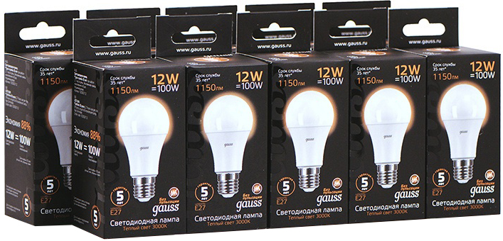 Упаковка ламп 10 штук Gauss LED A60 12W E27 1150lm 3000K