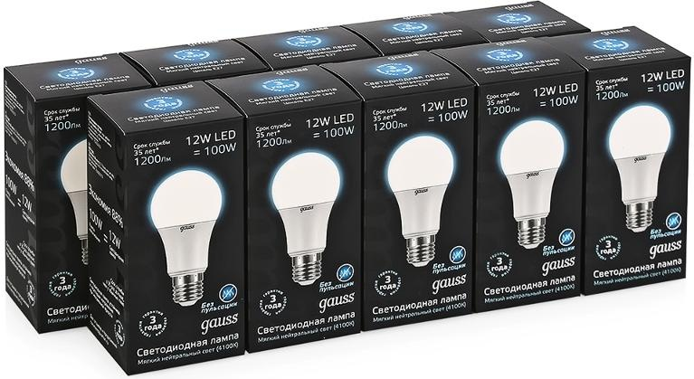 Упаковка ламп 10 штук Gauss LED A60 12W E27 1200lm 4100K