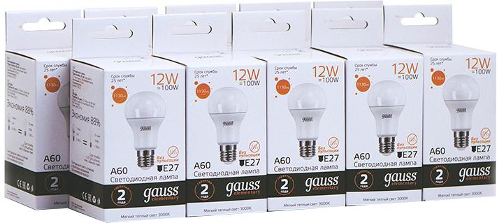 Упаковка ламп 10 штук Gauss LED Elementary A60 12W E27 1130lm 3000K