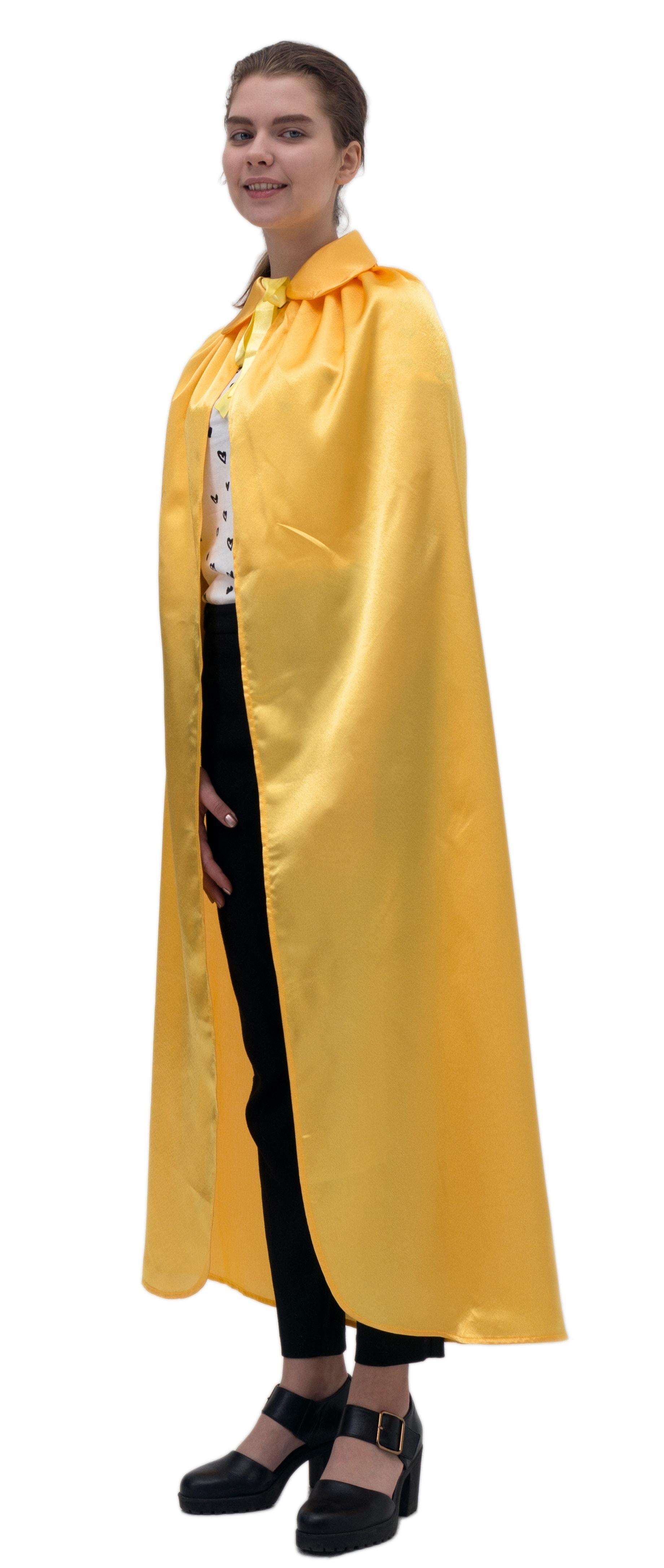 Купить Желтый атласный плащ с воротником Птица Феникс p1019,