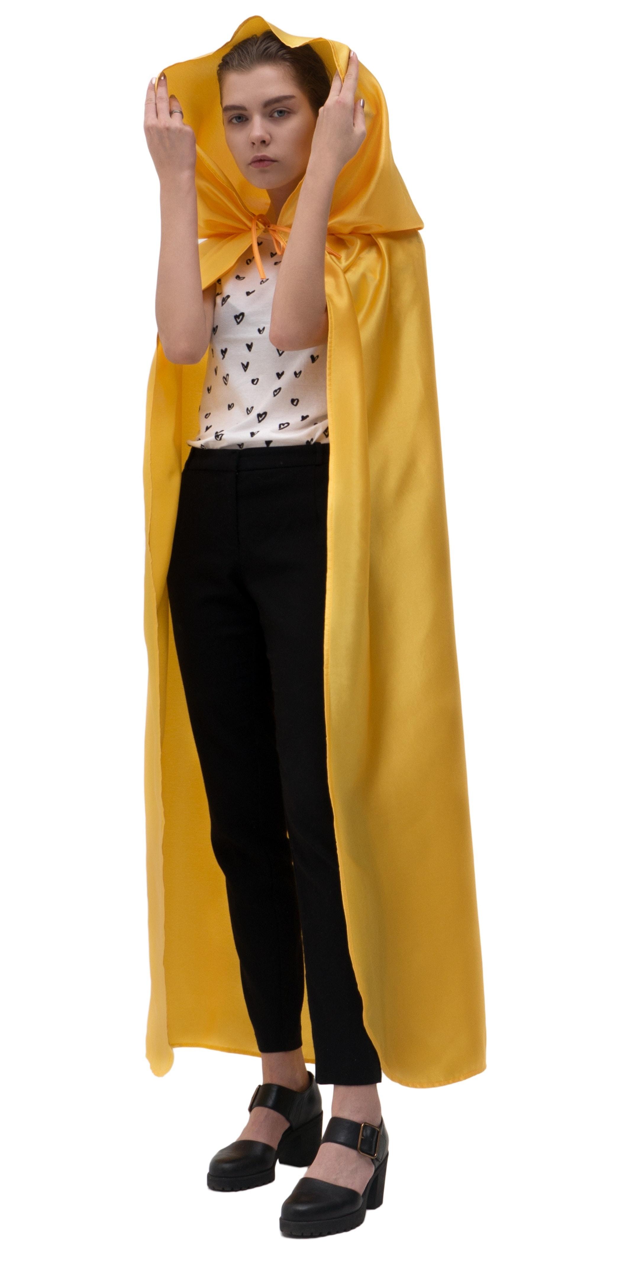 Купить Желтый атласный плащ с капюшоном Птица Феникс p1009,