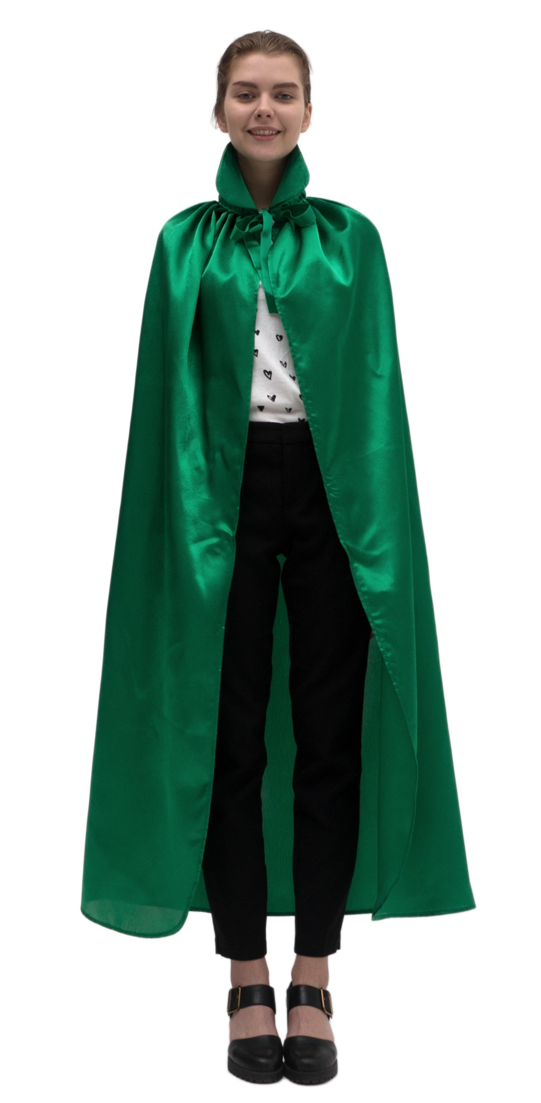 Купить Зеленый атласный плащ с воротником Птица Феникс p1015,