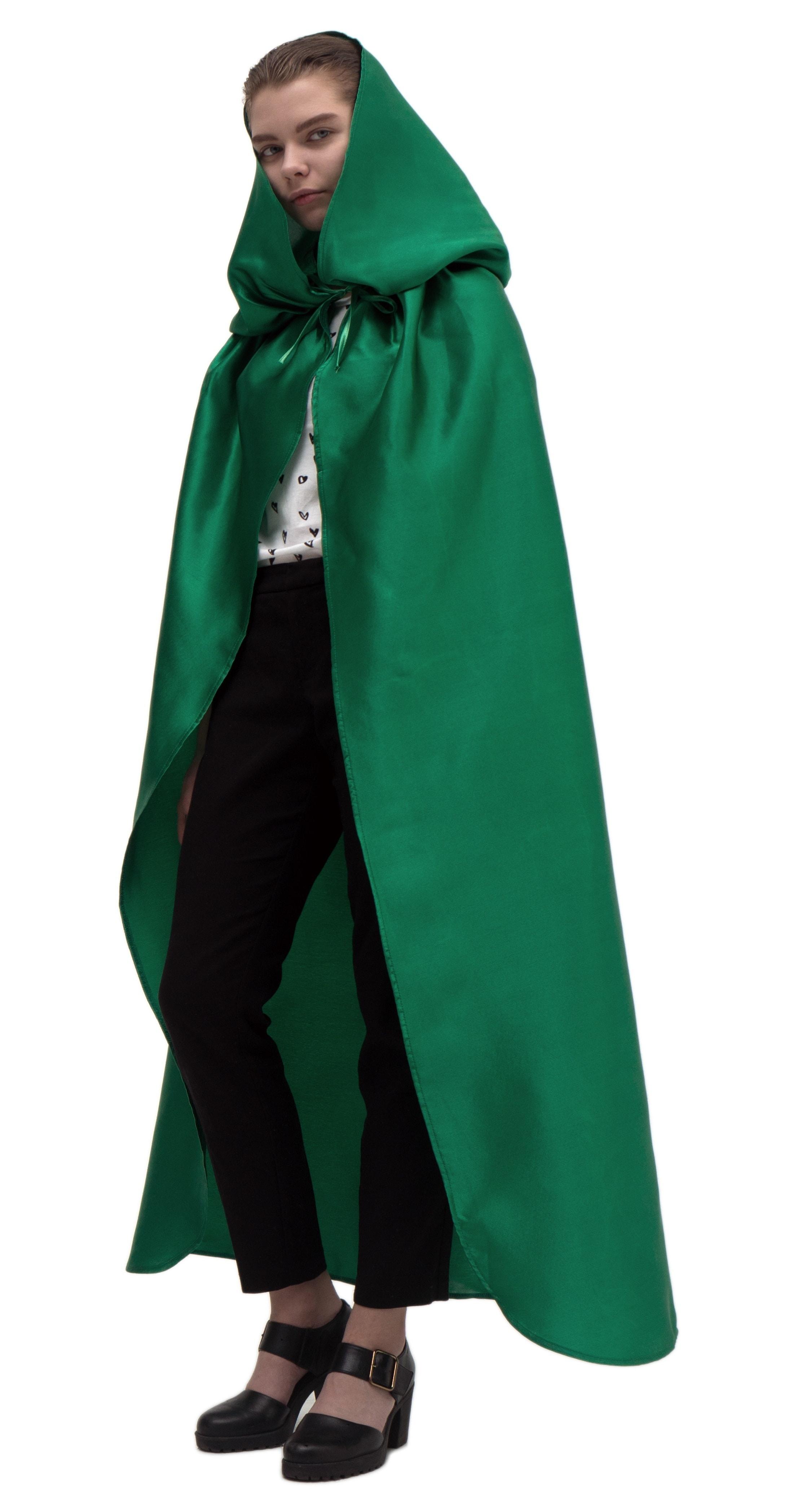 Купить Зеленый атласный плащ с капюшоном Птица Феникс p1005,