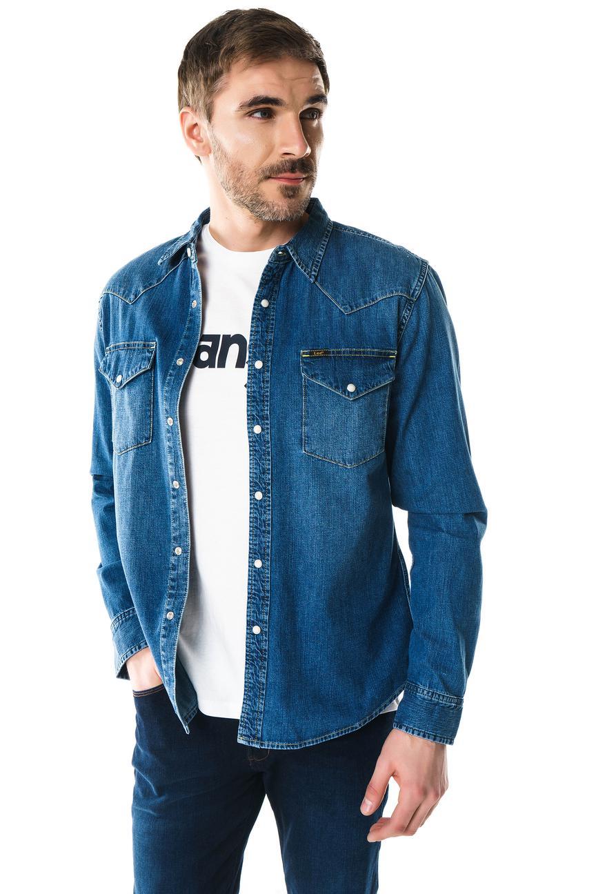 Рубашка мужская Lee L643AFVI синяя 48
