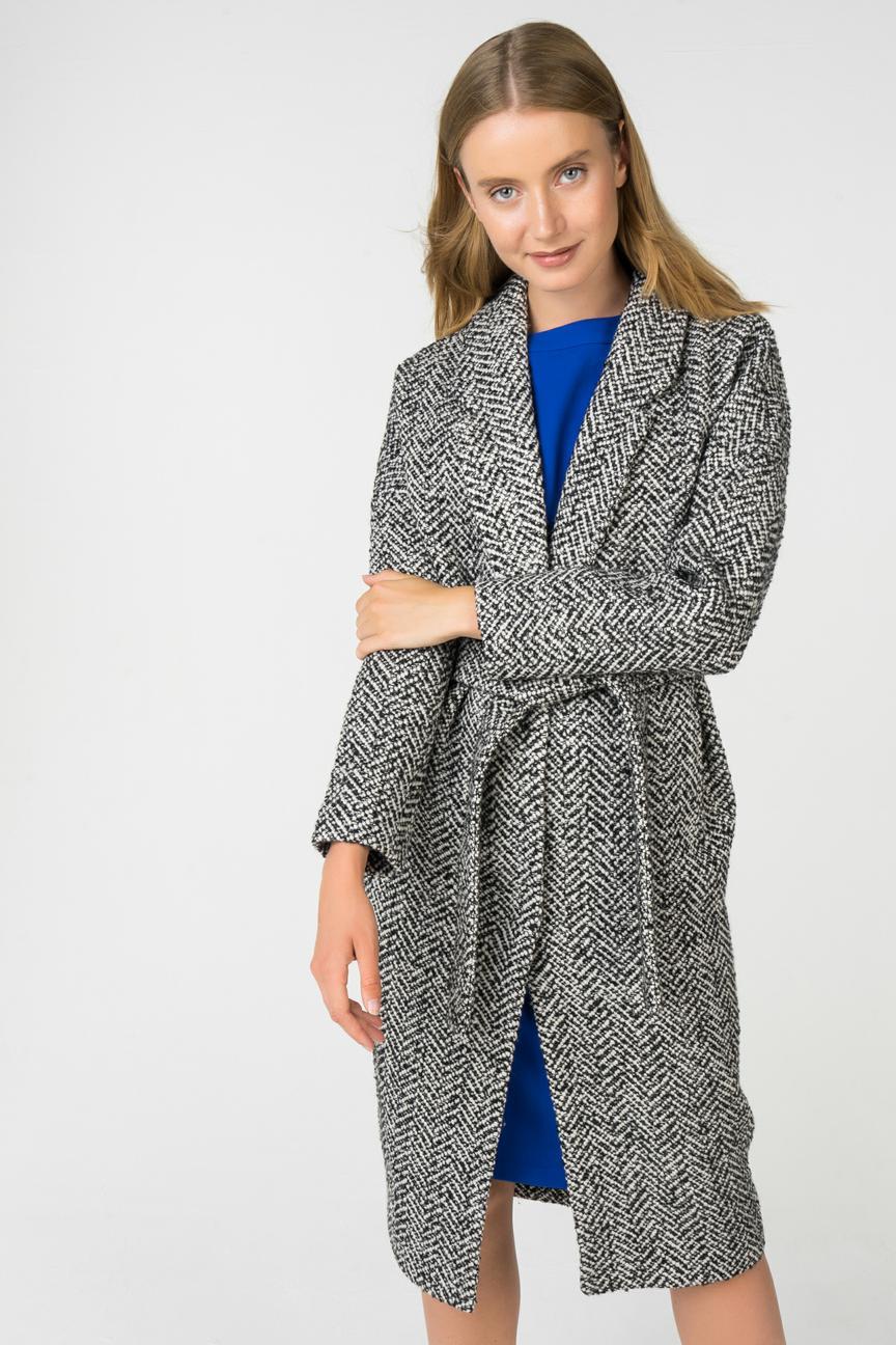Пальто-халат женское ElectraStyle 4-7038-227 серое 48