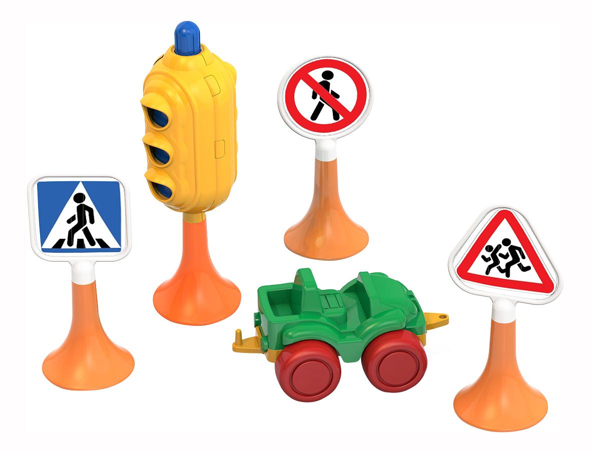 Купить Набор Нордпласт Дорожные знаки №2 (светофор, 3 знака, машинка нордик), НОРДПЛАСТ, Городской транспорт