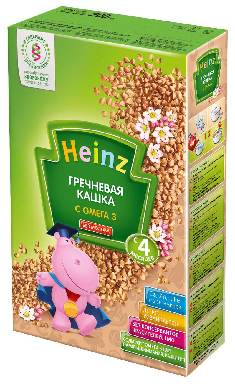 Безмолочная каша Heinz Гречневая с Омега 3 с 4 мес 200 г